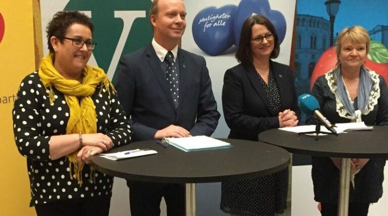 Olaug Bollestad og representant fra Venstre, Høyre og FrP på pressekonferanse