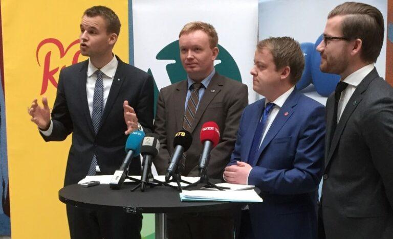 Kjell Ingolf Ropstad, og representant fra Høyre, Venstre og FrP på pressekonferanse om midlertidig ansettelse