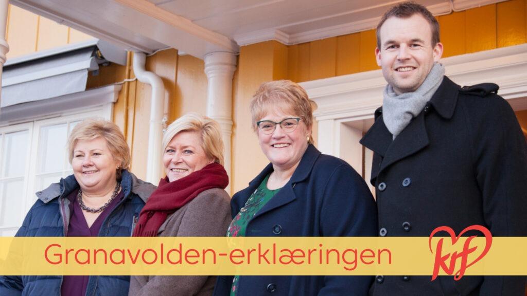 Lederne for de fire regjeringspartiene fra venstre: Erna Solberg, Siv Jensen, Trine Skei Grande og Kjell Ingolf Ropstad
