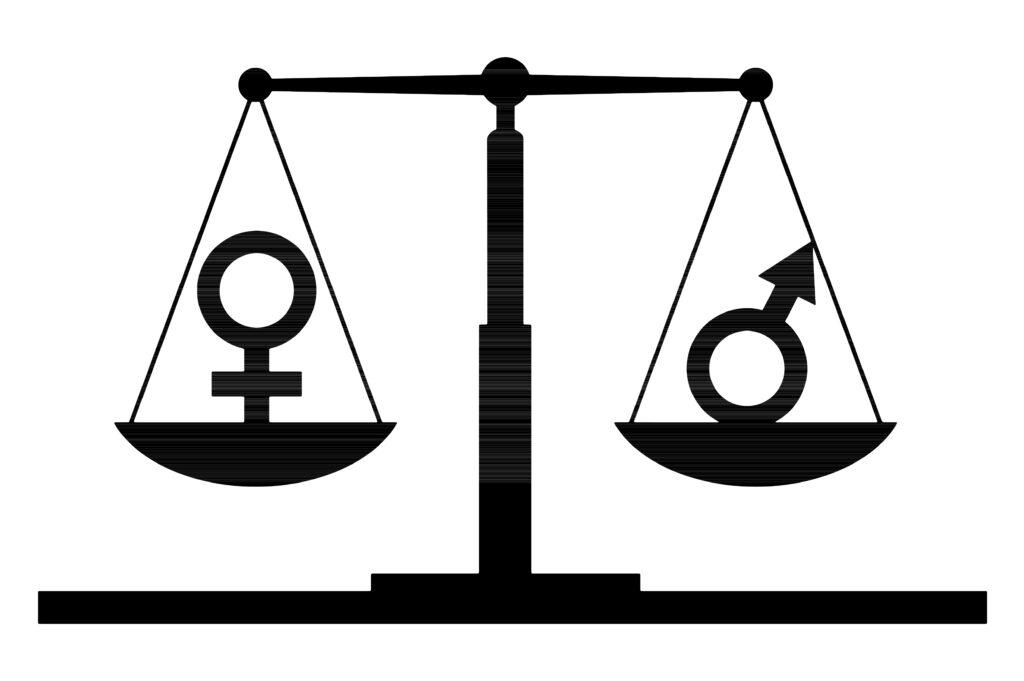 Illustrasjonsfoto av to jevnbyrdige vektskåler hvor den ene vektskålen har et kvinne-symbol og den andre ett manns-symbol