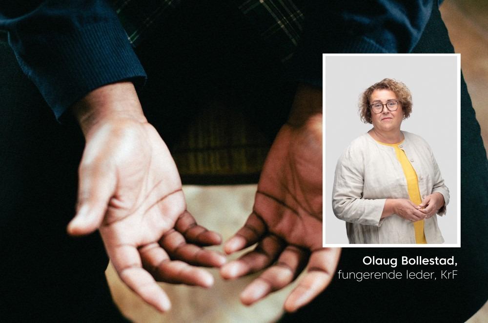 To åpne hender med innfelt bilde av Olaug Bollestad