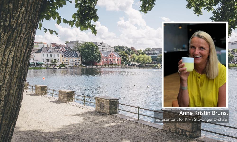 Bilde fra Stavanger, med innfelt bilde av Anne Kristin Bruns