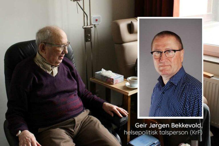 Illustrasjonsbilde av eldre mann og innfelt bilde av Geir Jørgen Bekkevold (KrF)