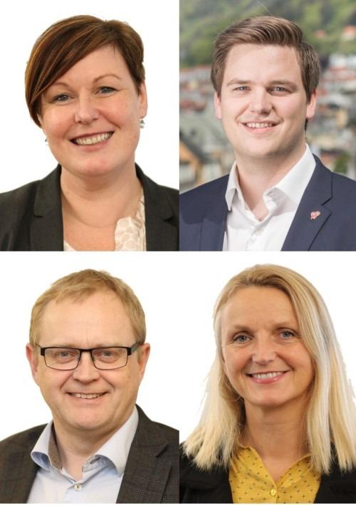 Bilde av de fire som er innstilt som ny fylkesledelse i Rogaland KrF