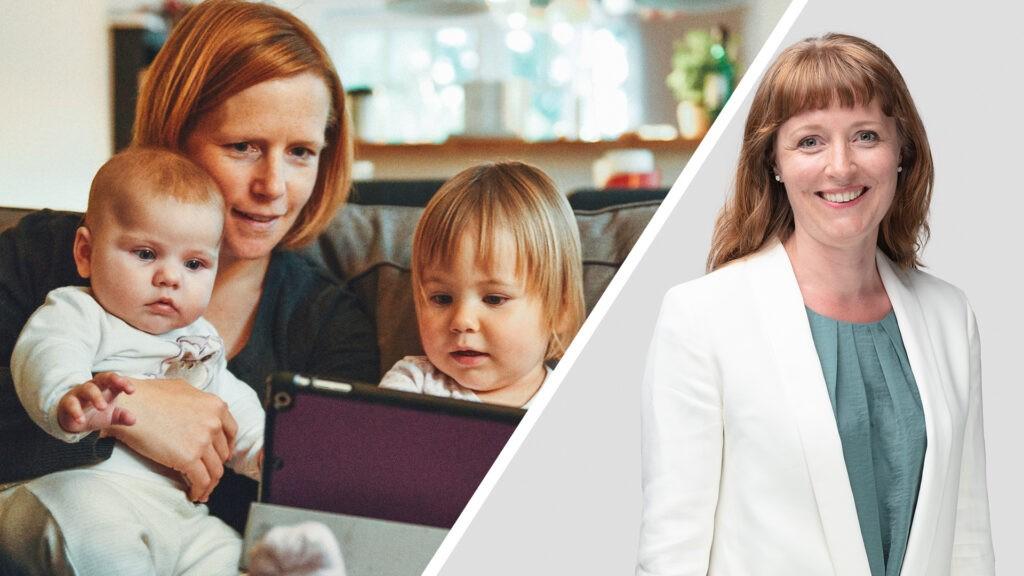 Ingelin Noresjø ved siden av illustrasjonsbilde av en familie med en mor og to små barn