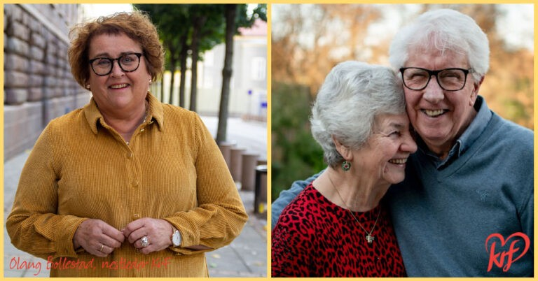 Smilende Olaug Bollestad og et eldre par