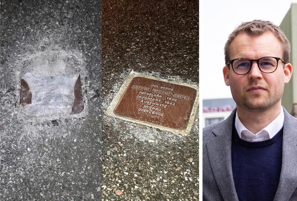 Kjell Ingolf Ropstad side om side med et bilde av en vandalisert snublestein, som er et jødisk minnesmerke for norske jøder som ble deportert under andre verdenskrig.