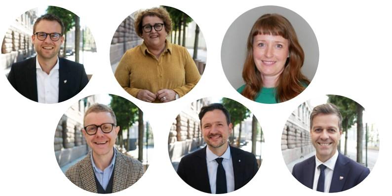 Profilbilder av partiledelse, statsråder og generalsekretær