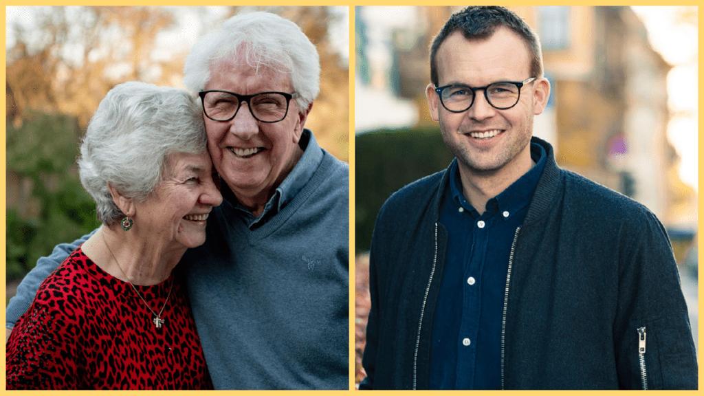 Collage av eldre par som klemmer og Kjell Ingolf Ropstad