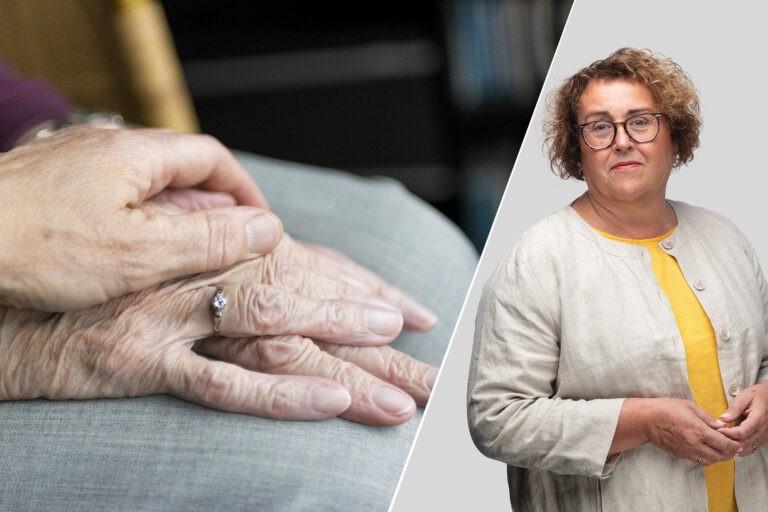 Olaug Bollestad med illustrasjonsfoto av hånden til eldre person