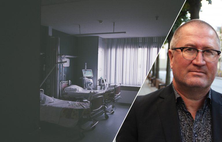 Geir Jørgen Bekkevold innfelt i et illustrasjonsbilde av en tom sykeseng