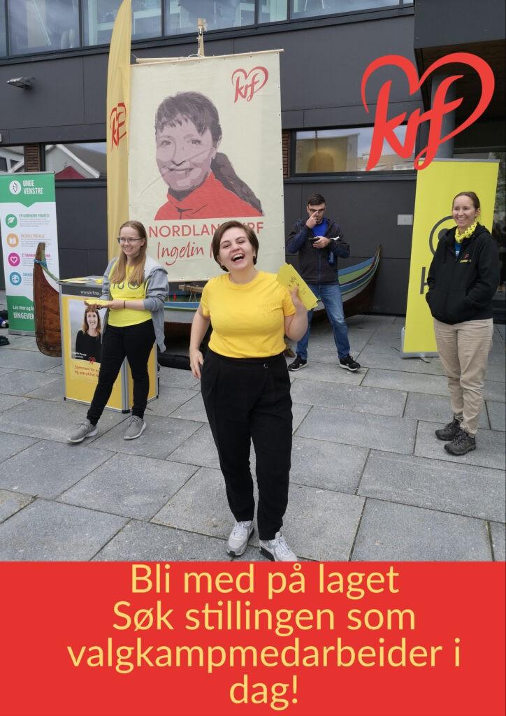 Bilde fra valgkampen 2019 med beskrivende tekst som oppfordrer til å søke stillingen som valgkampmedarbeider.
