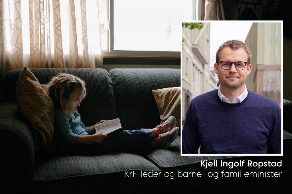 Barne og familieminister, Kjell Ingolf Ropstad innfelt i et bilde av en jente som sitter i en sofa og leser under et vindu. Illustrasjonsfoto.