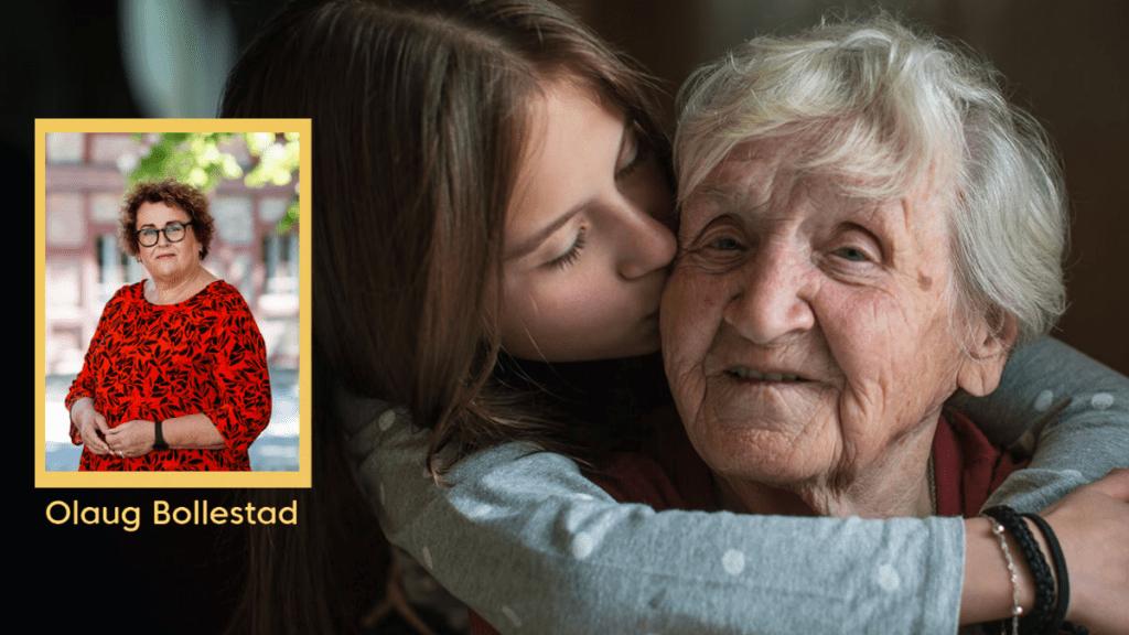 Bilde av jente som koser med bestemoren sin, innfelt bilde av Olaug Bollestad