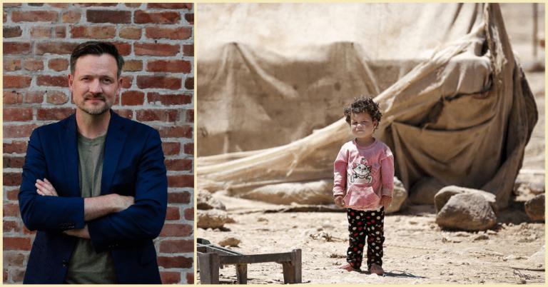 Collage av Dag Inge Ulstein og jente i syrisk flyktningleir